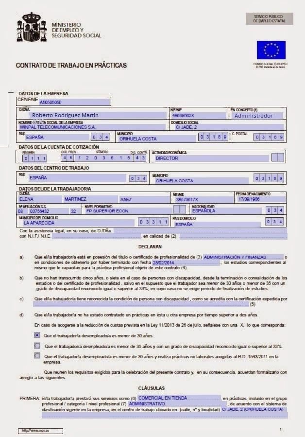 Winpal teleco s a sepe for Modelo contrato indefinido