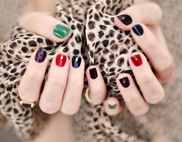 bejeweled nails, jewel tone manicure