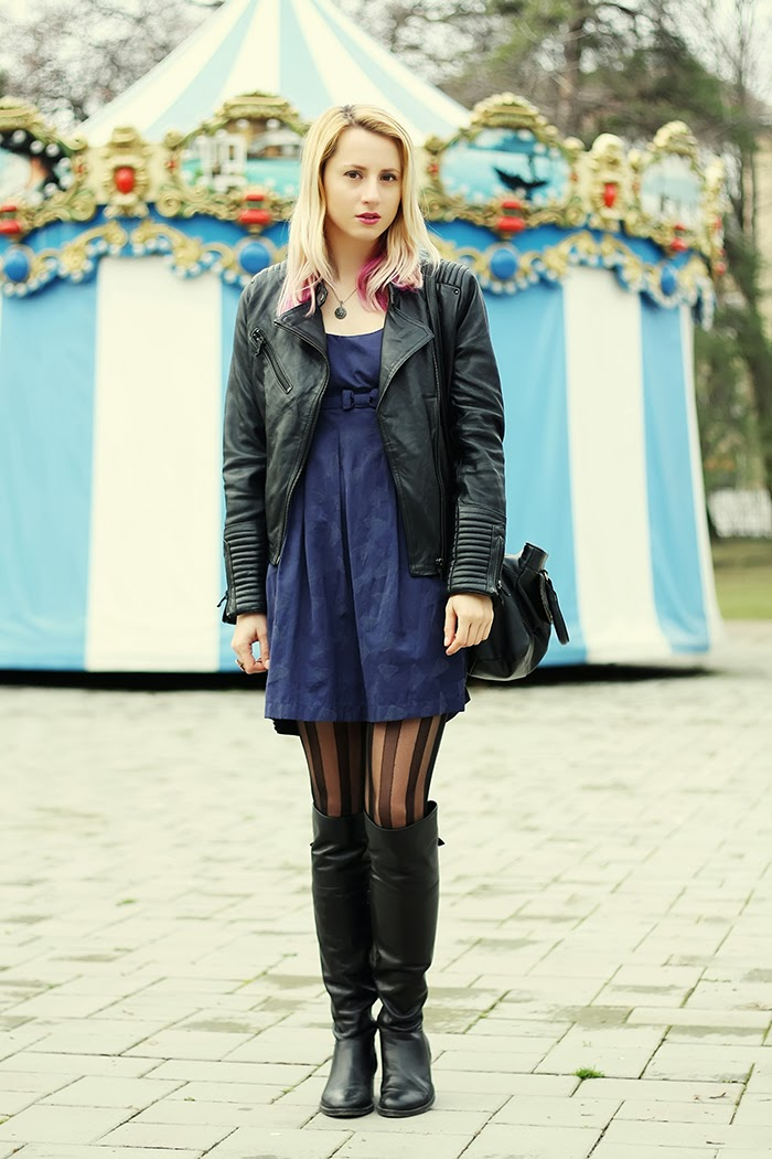 Pull & bear leather jacket H&M dress tights