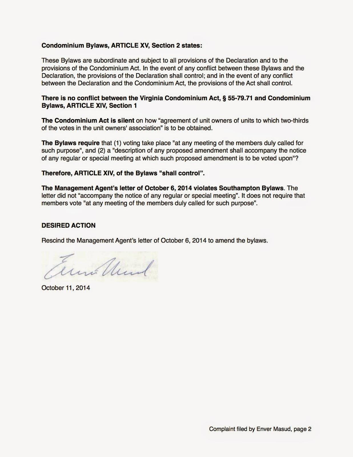 Southampton 22202: Formal complaint regarding bylaw amendment ...
