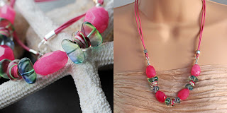 Cherry Quartz and glass Necklace