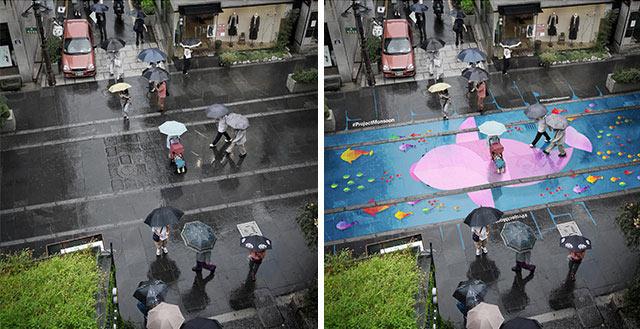 Estos murales aparecen en las calles sólo cuando llueve