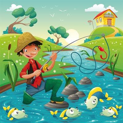 Ilustración vectorial de pescador de ilusiones con peces en el río azul