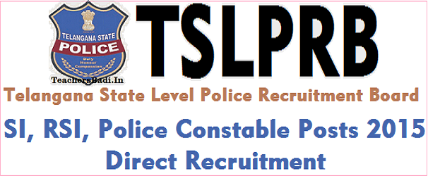 TSLPRB,SI RSI,Police Constable Posts