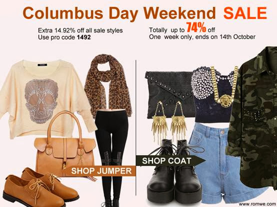 romwe columbus day weekend sale