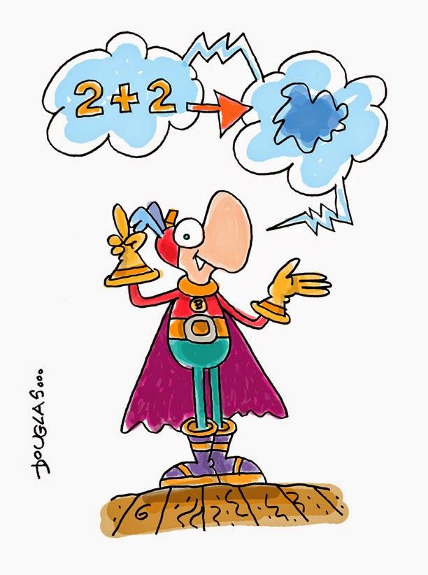 Dibujo de un super héroe diciendo que 2+2= azul