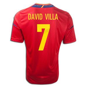 adidas david villa spain home jersey