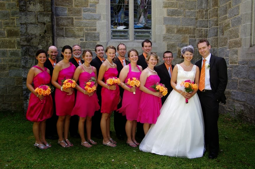 Wedding Party, Begonia, Orange, Ivy Chapel, Bethlehem, NH