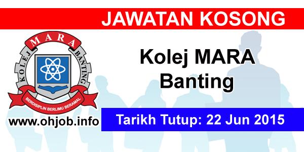 Jawatan Kerja Kosong Kolej MARA Banting logo www.ohjob.info jun 2015