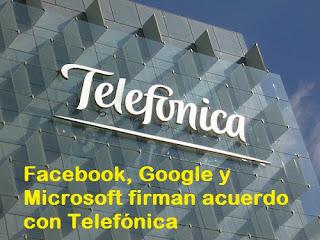 Convenios entre Microsoft, Google y Facebook