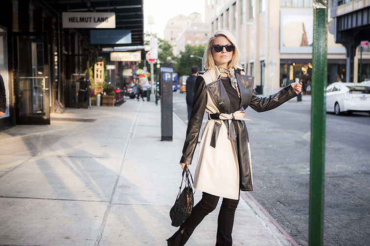 Ann Taylor leather trim trench coat, Bottega Veneta intrecciato leather crossbody bag, Ray-Ban Wayfarers, J Brand jeans, NYC