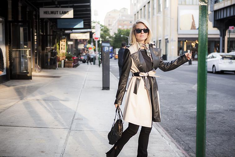 Ann Taylor leather trim trench coat, Bottega Veneta intrecciato leather crossbody bag, Ray-Ban Wayfarers, J Brand jeans, NYC