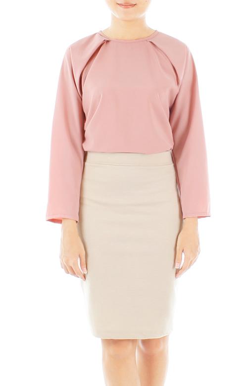 Tea Rose Pink Pleat Raglan Long Sleeve Blouse