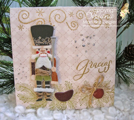 front gracias note with nutcracker stickers