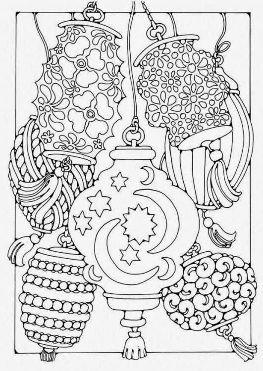 Abstract lanterns coloring coloring pages adult for Lantern coloring page