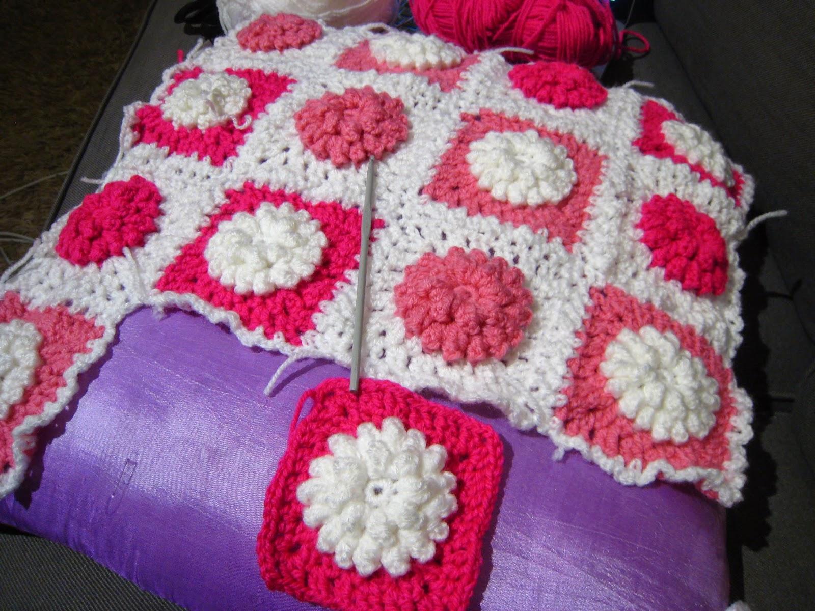 Oh Milly Popcorn Stitch Flower And Sunburst Granny Square Cushion