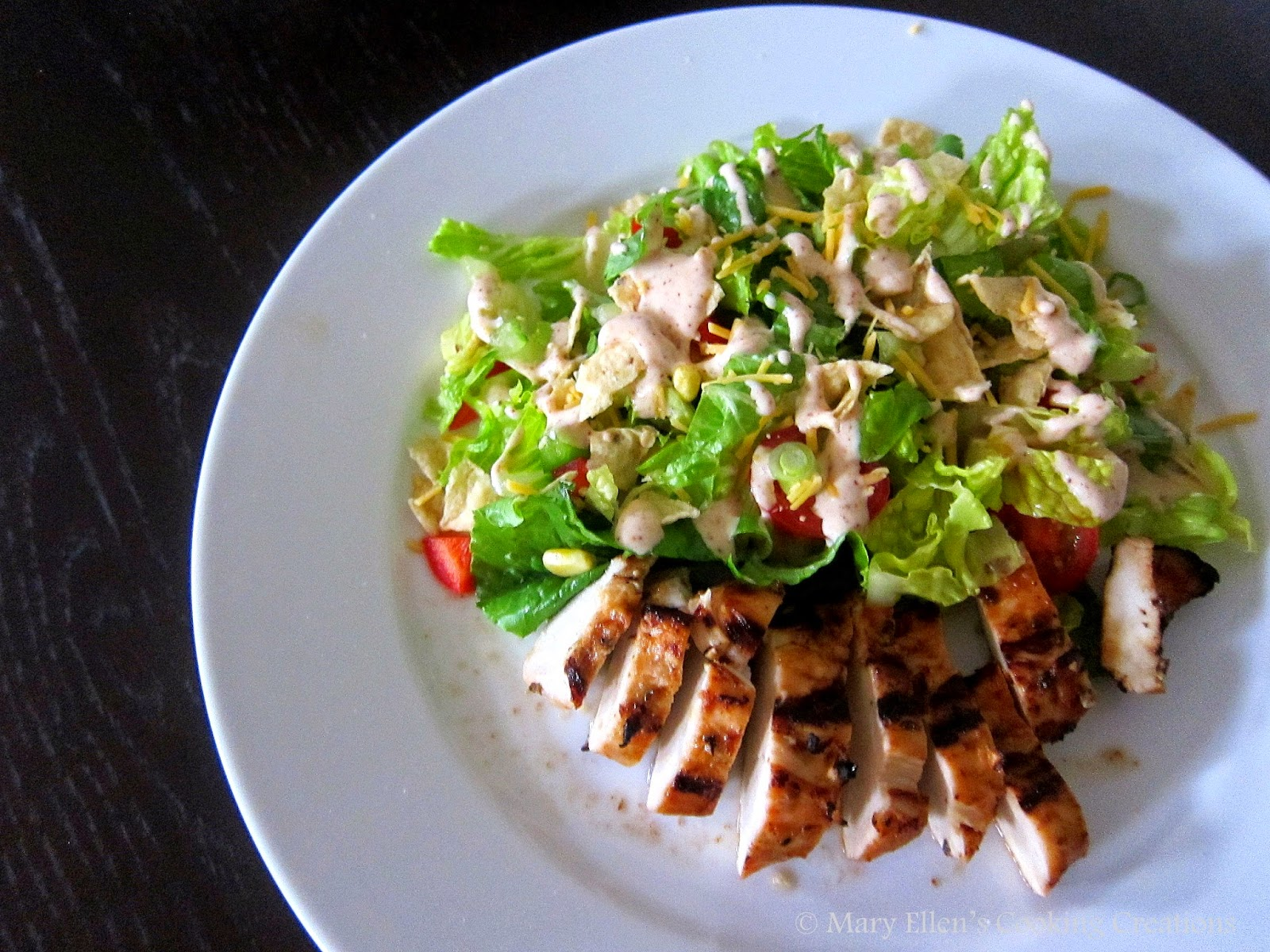 bbq-chili grilled chicken with a tex mex chopped salad and chili-ranch dressing