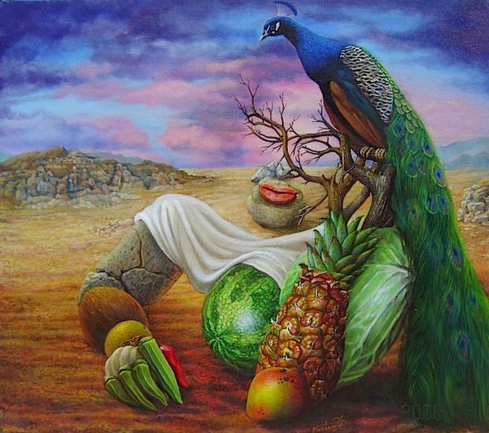000...Surrealismo...000 - Página 2 Surrealismo-rostros-con-frutas-oleos