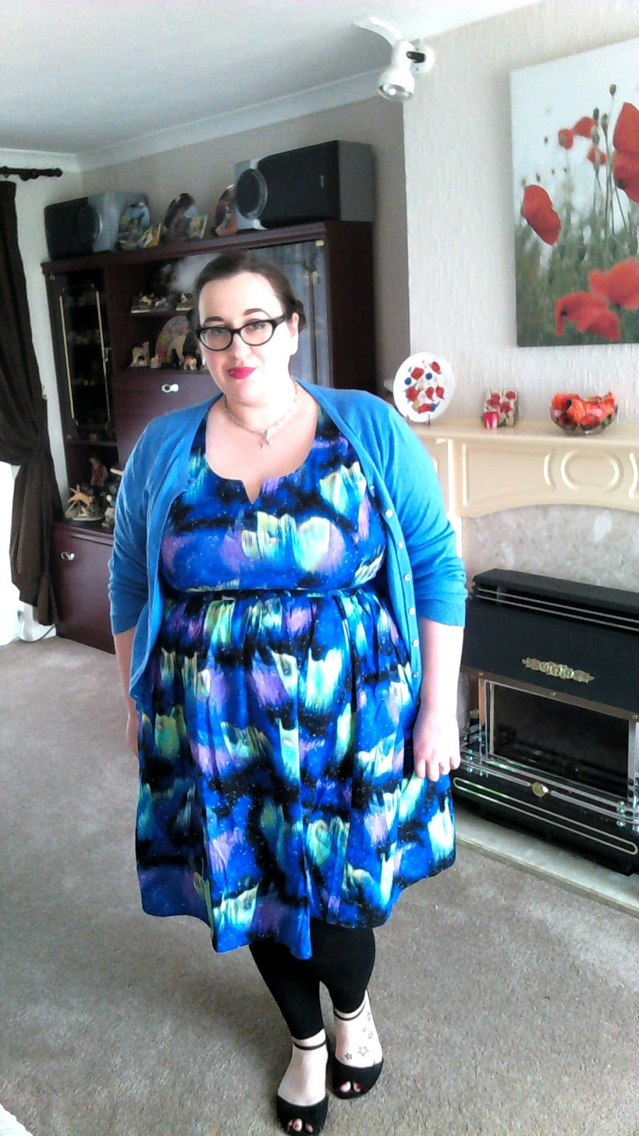 Plus Size Fat girl wearing a Modcloth northern lights dress