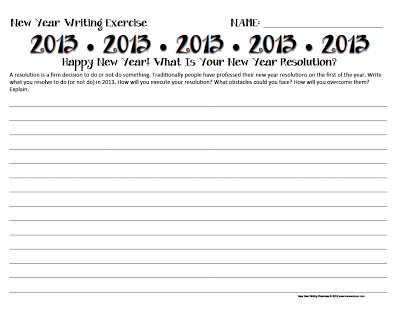 2013 New Year Resolution Activity - Creative Writing Activities www.traceeorman.com