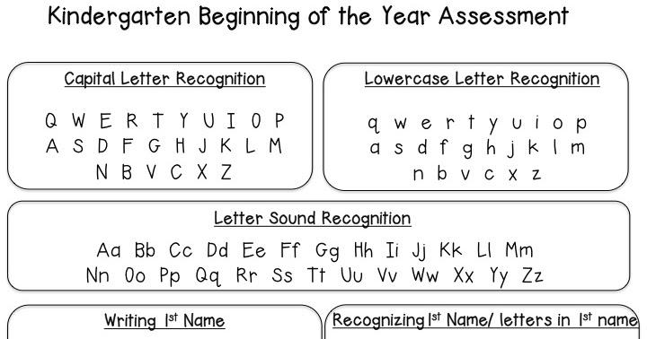 Back to School Kindergarten Assessment - The Daily Alphabet