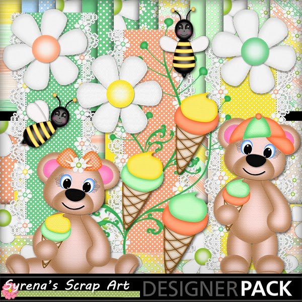ice cream digital scrapbook kit with teddy bears