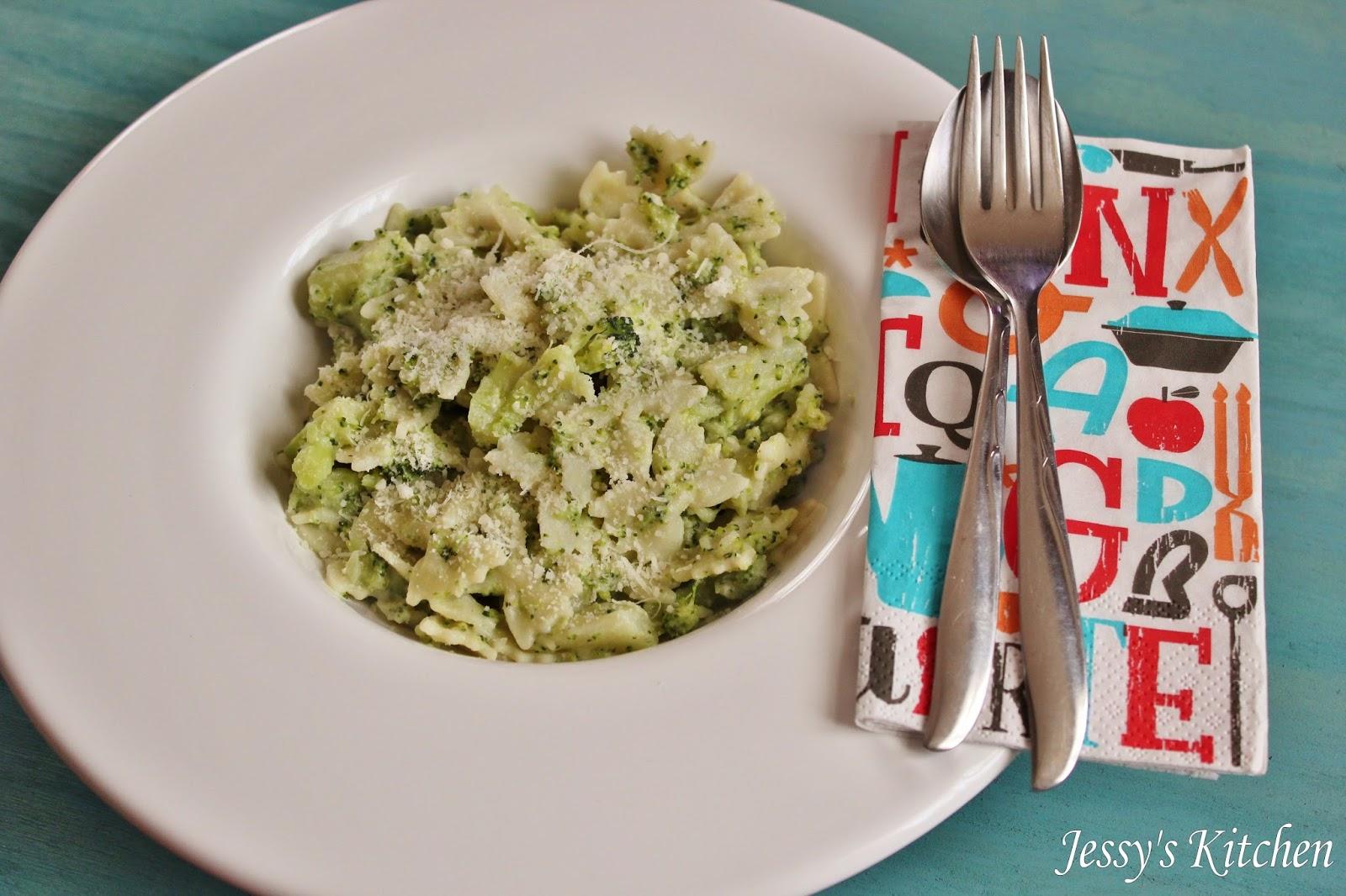 jessy 39 s kitchen p tes aux brocolis fa on jamie oliver. Black Bedroom Furniture Sets. Home Design Ideas
