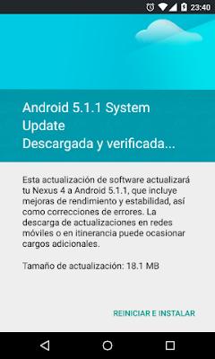 El Domingo 31 de Mayo me saltó la actualización a Android 5.1.1 en mi Nexus 4.