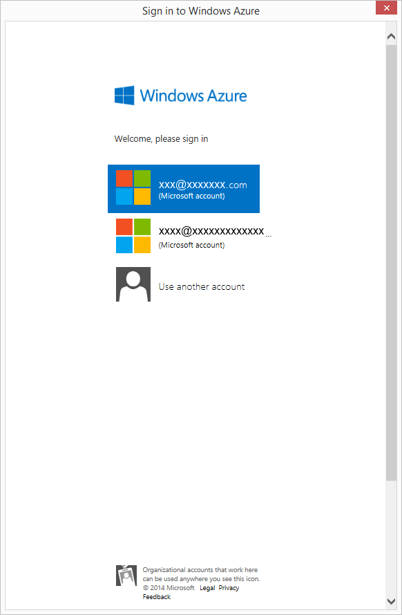 Sign in to Windows Azure window showing different Microsoft accounts to choose from.