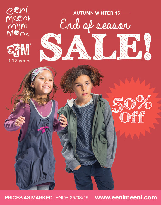 eeni meeni miini moh and e3-m 50% off AW15 collection for kids