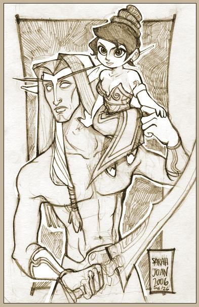 Night Elf and Gnome Mage por Pixi-san
