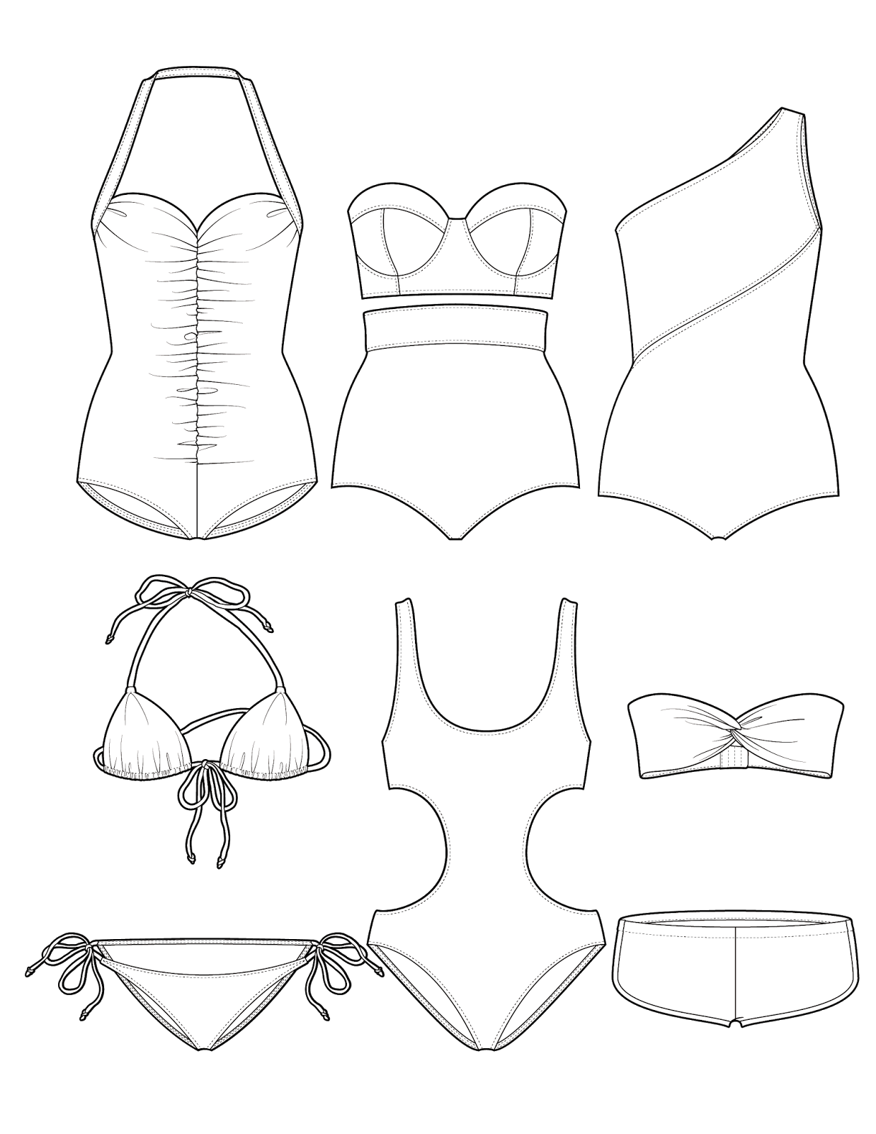swimwear-coloring-page, fashion-coloring-page, coloring-pages-for-adults