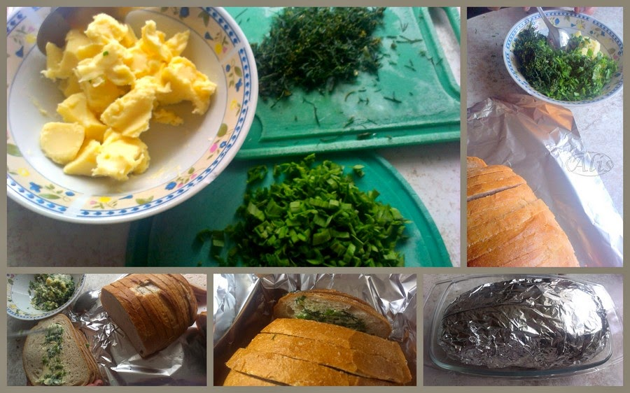 szczypiorek, pietruszka, liść czosnku, chleb zapiekany