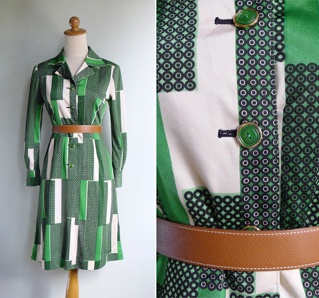 vintage 1970's polyester optical art print dress