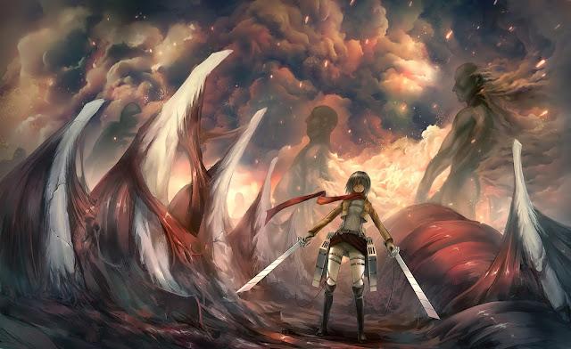 Mikasa Ackerman Titans Scarf Bones Smoke Attack on Titan Shingeki no Kyojin Girl Female Anime HD Wallpaper Desktop PC Background a40