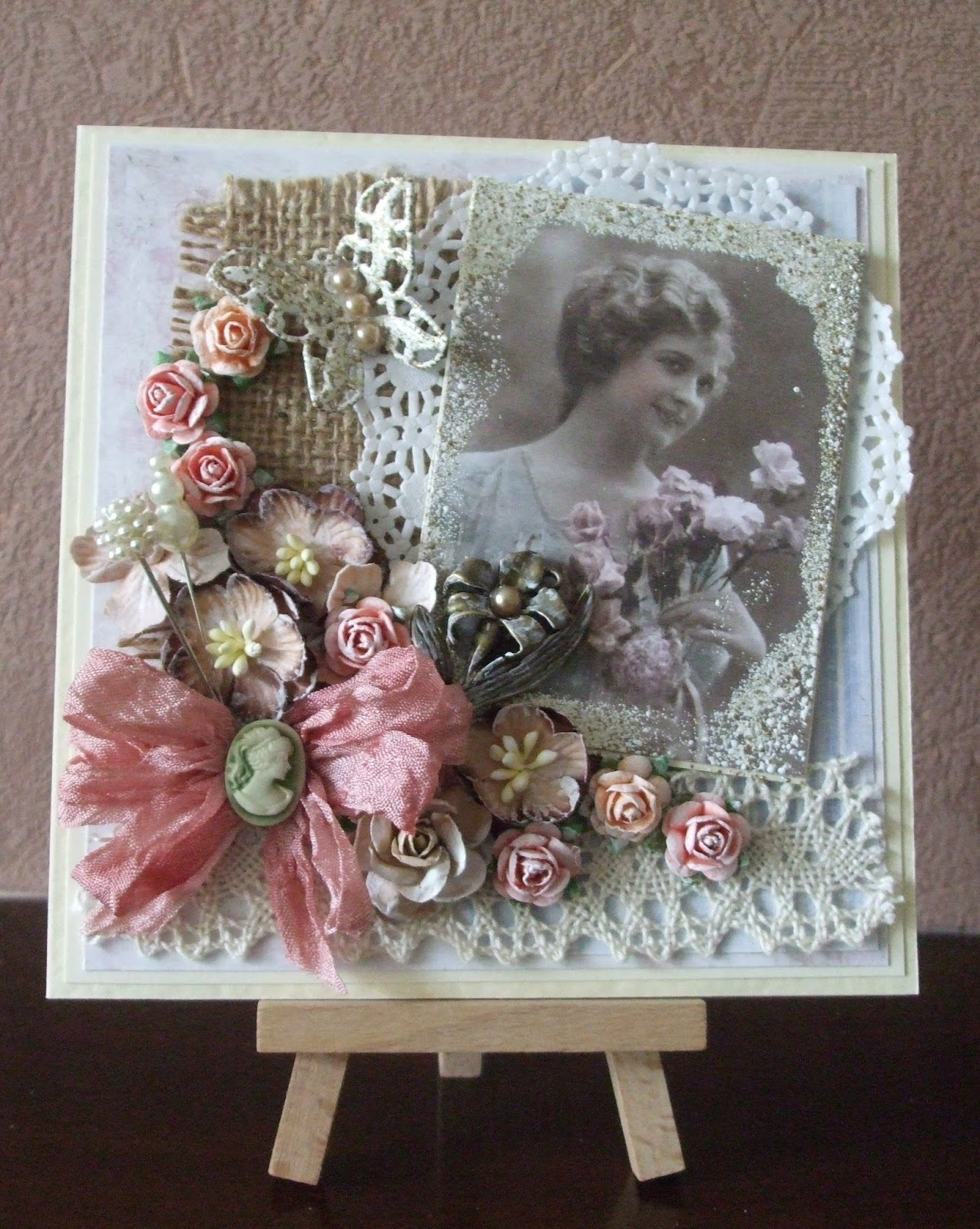 Crafty hearts wish xx friends shabby chic birthday card - Vintage karten basteln ...