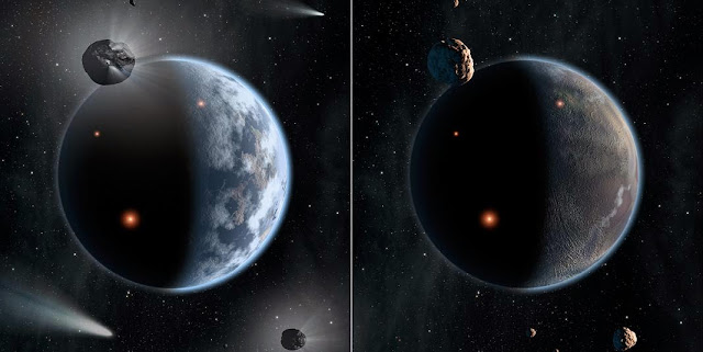 This artist's concept illustrates the fate of two different planets: the one on the left is similar to Earth, made up largely of silicate-based rocks with oceans coating its surface. Image Credit: NASA/JPL-Caltech