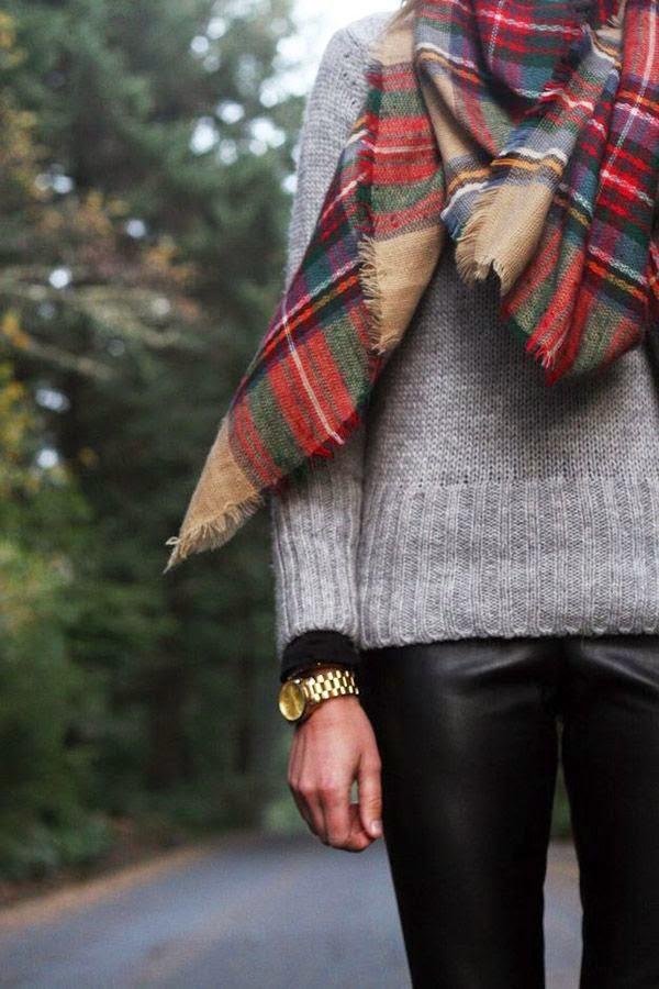 tartan scarf, gray sweater, black pants
