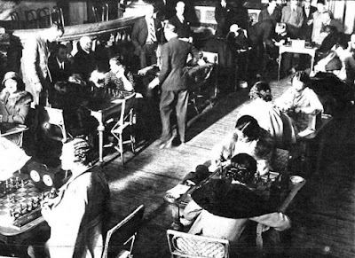 Sala de juego del I Campeonato Femenino de Ajedrez, Madrid 1934