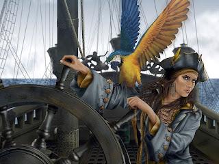 Dibujo de mujer pirata, con cicatriz y loro, manejando el timón de un barco