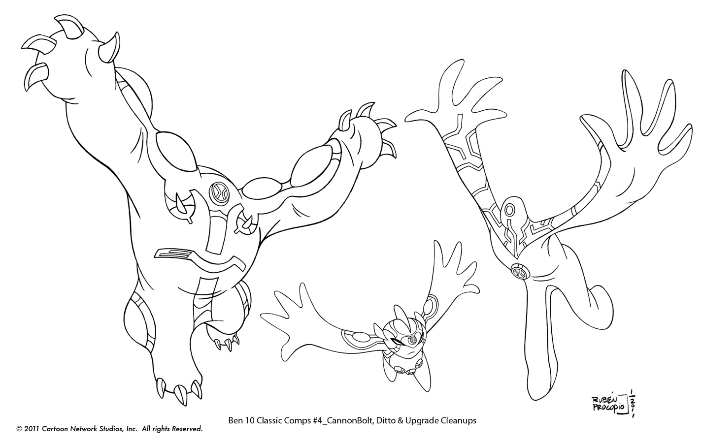 How to draw ben10 alien xlr8 - Masked Avenger Studios Ben 10 Classic Comps Roughs And Clean Ups
