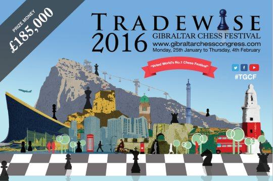 L'affiche du tournoi d'échecs de Gibraltar 2016