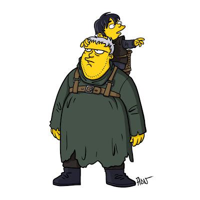 Hodor y Bran los simpsons - Juego de tronos en los siete reinos