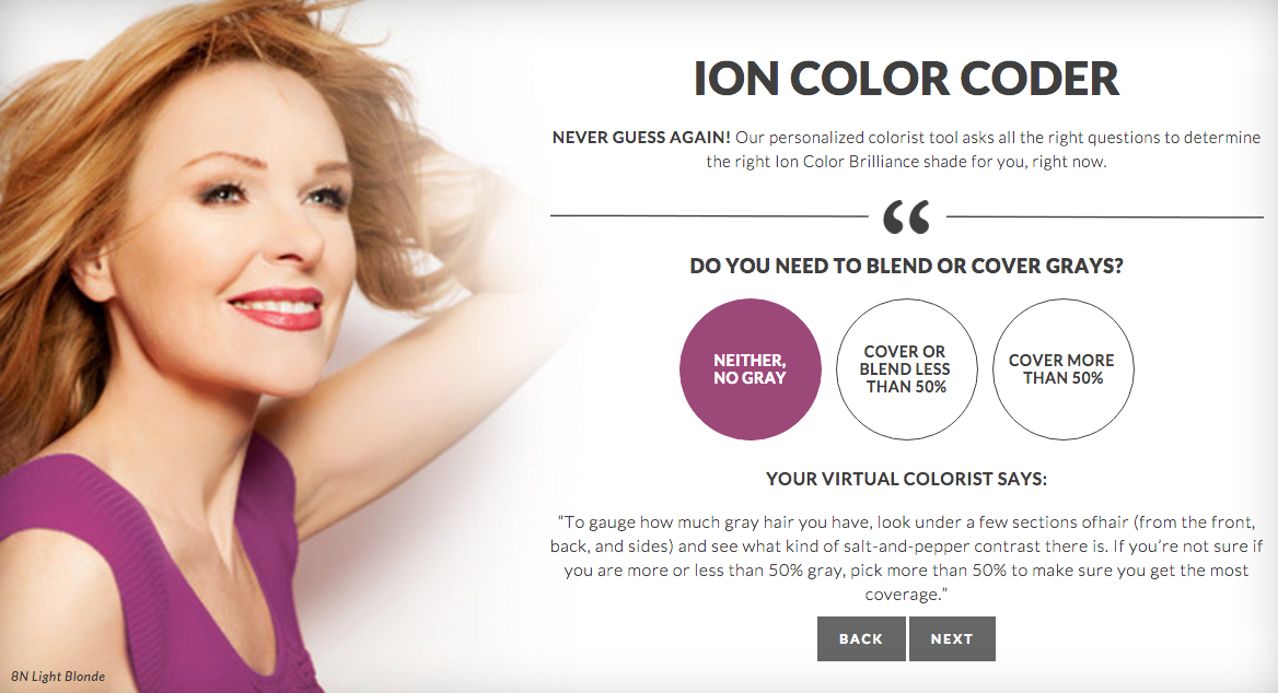 Ion at home hair color coder quiz do it yourself nubias nonsense step 3 now the ion virtual colorist has to know what matches your natural hair color best so they can know how to obtain your new color goal and what solutioingenieria Gallery