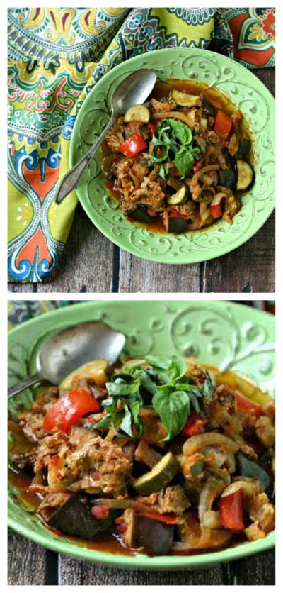 Slow Cooker Paleo Sausage and Vegetable Ratatouille from Everyday Maven found on SlowCookerFromScratch.com