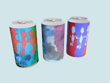 Lata de refrigerante com pintura de Filipe.