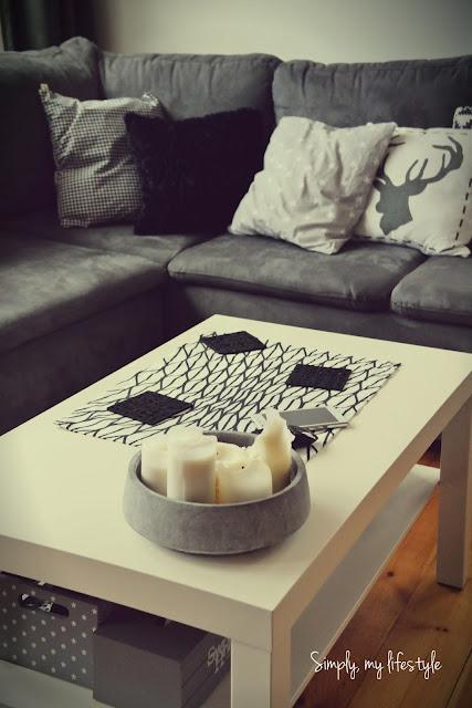 poszewka poduszka czarno białe gwiazdki beton ozdoby stołu