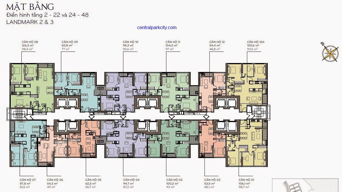 Căn hộ Landmark 2 & 3 - Mặt bằng tầng 2 - 22 và 24 - 44