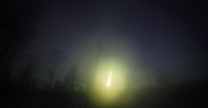 This is a picture of the fireball at the time of entry to Earth taken at the Kola Peninsula (Russia). Credit: Asko Aikkila