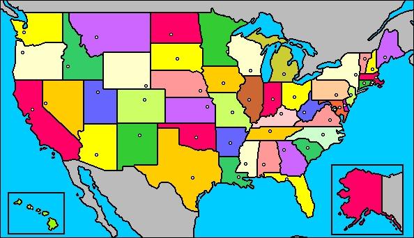 Map of United States- Mapa de los Estados Unidos